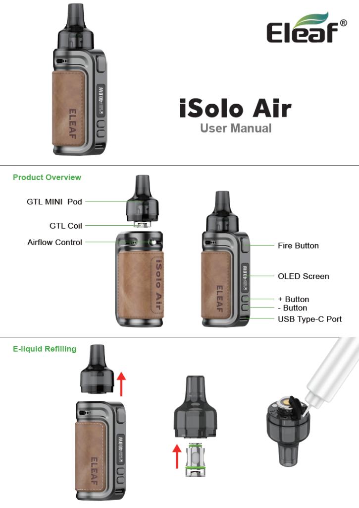 Инструкция Eleaf iSolo Air